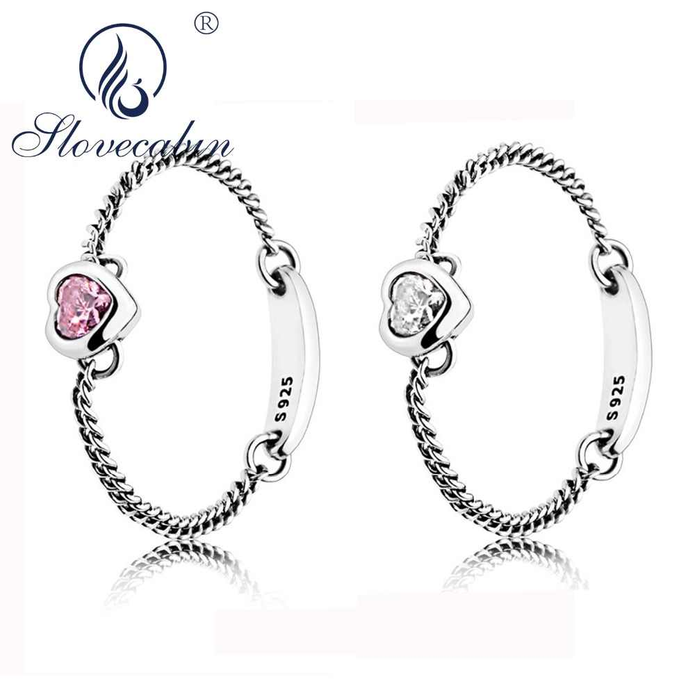 886912b0f Slovecabin Luxury Jewelry Pure 925 Sterling Silver Spirited Heart Ring Pink  Clear CZ 2018 Summer Soft
