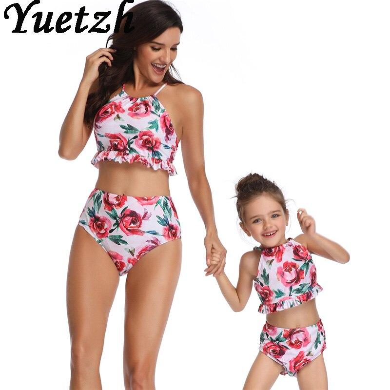 New women sexy bikini child kids girls bikini swimwear bikinis sets swimsuit daughter mother family swimming swim wear beachwer