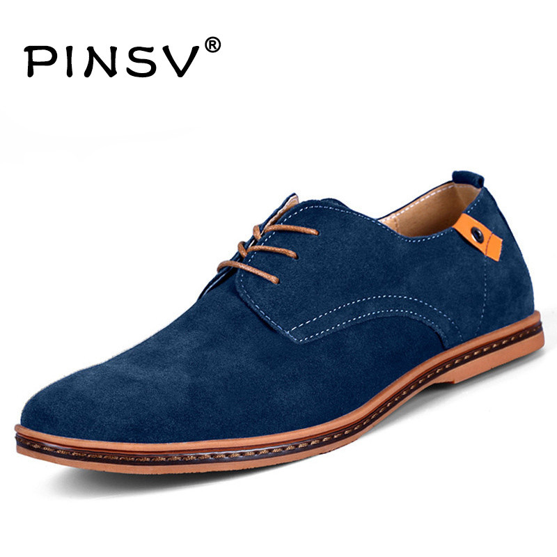 PINSV Men Shoes Casual Suede Leather Shoes Mens Loafers Black Oxford Shoes For Men Zapatos Hombre Big Size 38-48 Erkek Ayakkab