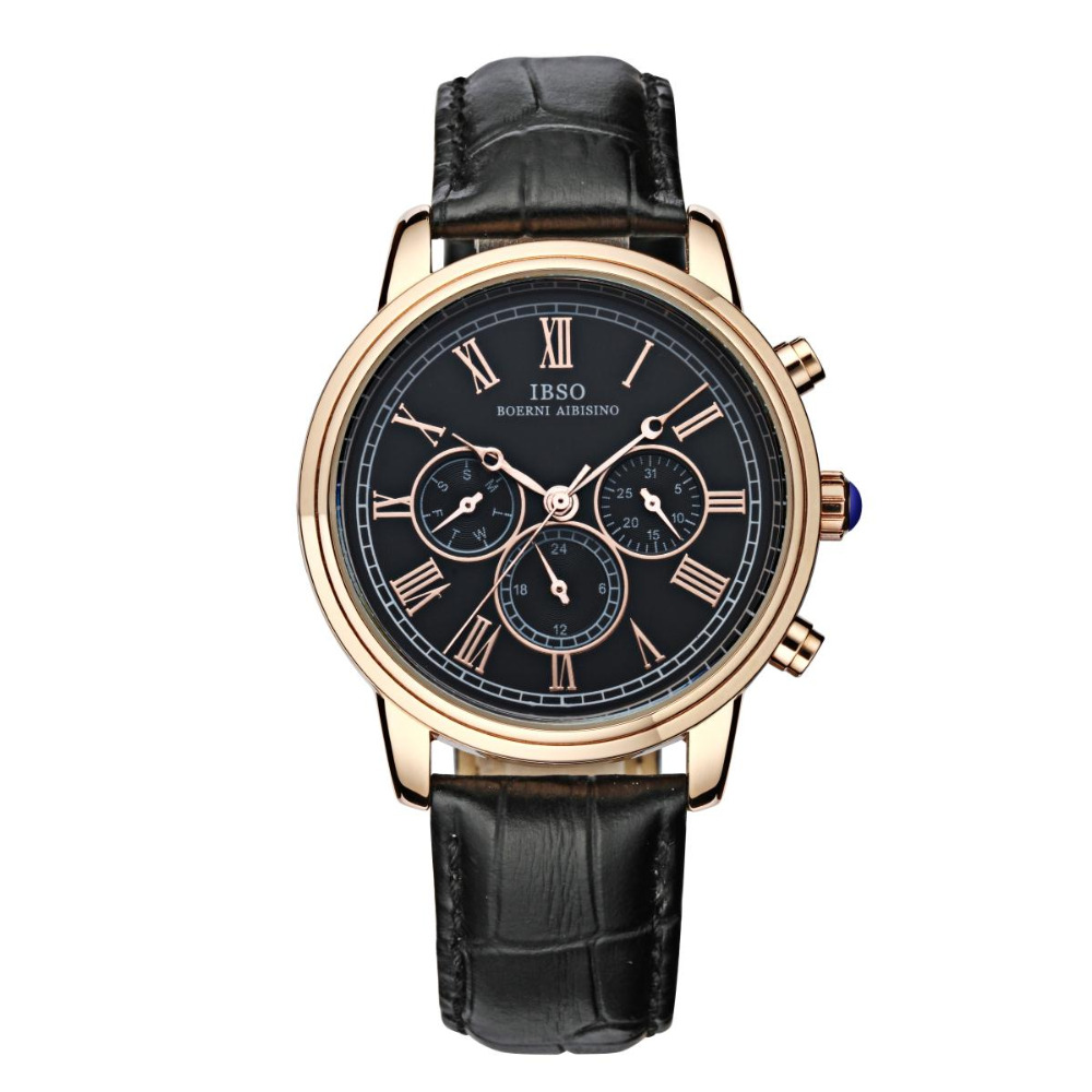 IBSO Analog Quartz Sport Wrist Watch for Men Stainless Steel Watch Leather Band D6811G цена и фото