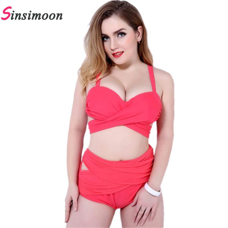 Фото Hot Sale Women Plus size Bikini set Female Cross Bandage Biquini Sexy Women High Wasit Swimsuit Bodysuit Sexy Monokini Beachwear