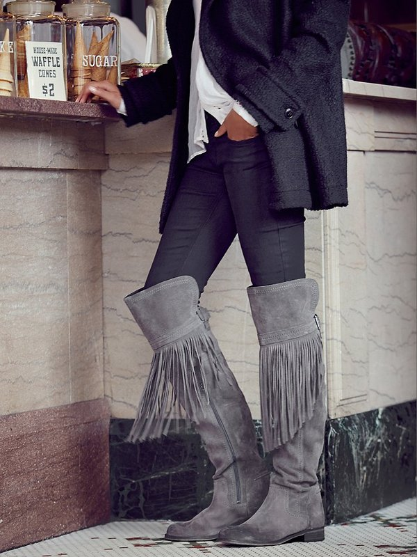 Hot Selling Women Riding Knee-High Fall Winter Boots Zip Fringe Flock Solid Color Low Heel Shoes Big SizeHot Selling Women Riding Knee-High Fall Winter Boots Zip Fringe Flock Solid Color Low Heel Shoes Big Size