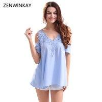 2017 Summer Women Chiffon Slip Blouse Shirt Women S V Neck Sexy Top Female Solid Blue
