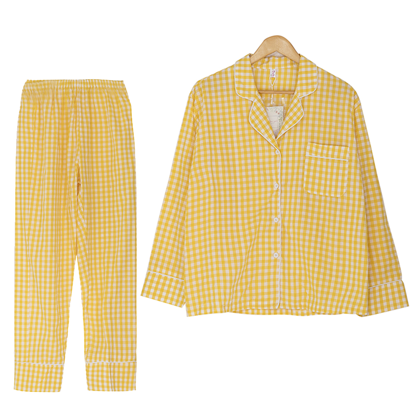 New 2018 Women Pajamas Suit Plaid Yellow Red Black 2 Pieces Set Long Sleeve Top + Pants Elastic Waist Bordered Pyjamas S7N102