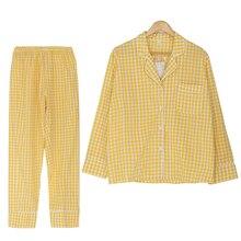 Nowy 2019 kobiet komplet piżamy Plaid żółty czerwony czarny 2 sztuk zestaw z długim rękawem Top + spodnie w pasie graniczy piżamy S7N102