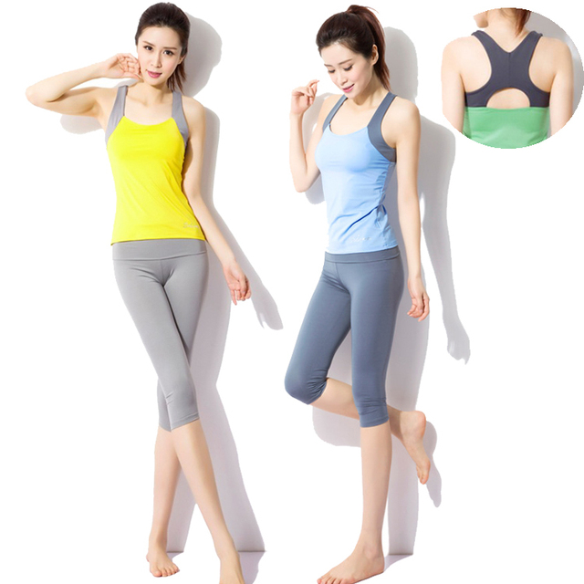 894d068e59e56 2015 newest workout clothes for women gym yoga fitness clothing set sexy  running woman vest & yoga pants ropa deportiva mujer