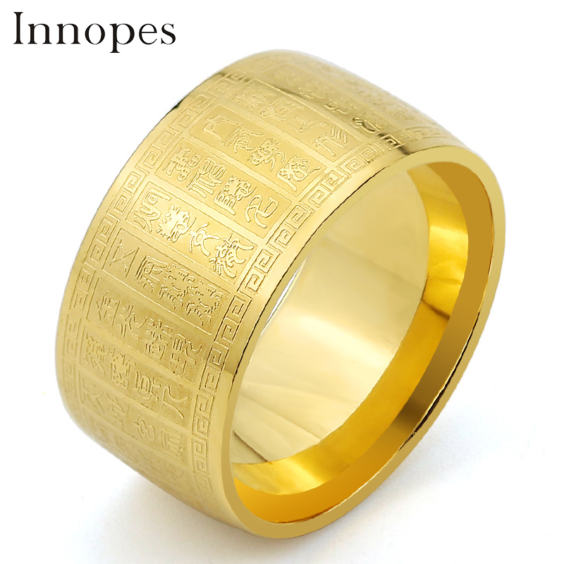 Innopes Classic geometric gold  ring religious ornament vintage luxury man punk rock stainless steel jewelry