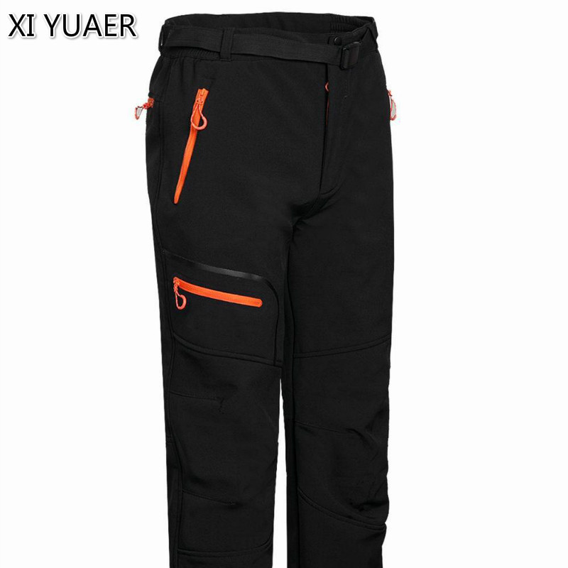 Фотография XI YUAER New Tech Softshell Hiking Pants Men Waterproof Rock Mountain Climbing Trousers Windstopper Ski Hunting Camp clothes7021