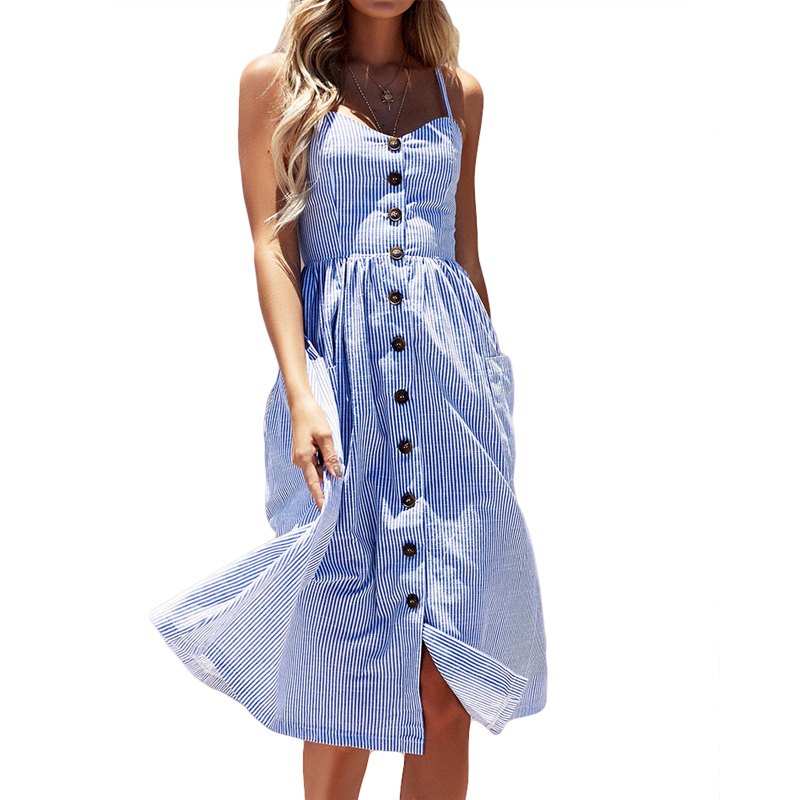 Striped Button Vestidos Sexy Summer Casual Strap Dress Elegant Long Boho Beach Pockets Women Sundress Female Daily Dess CM2733
