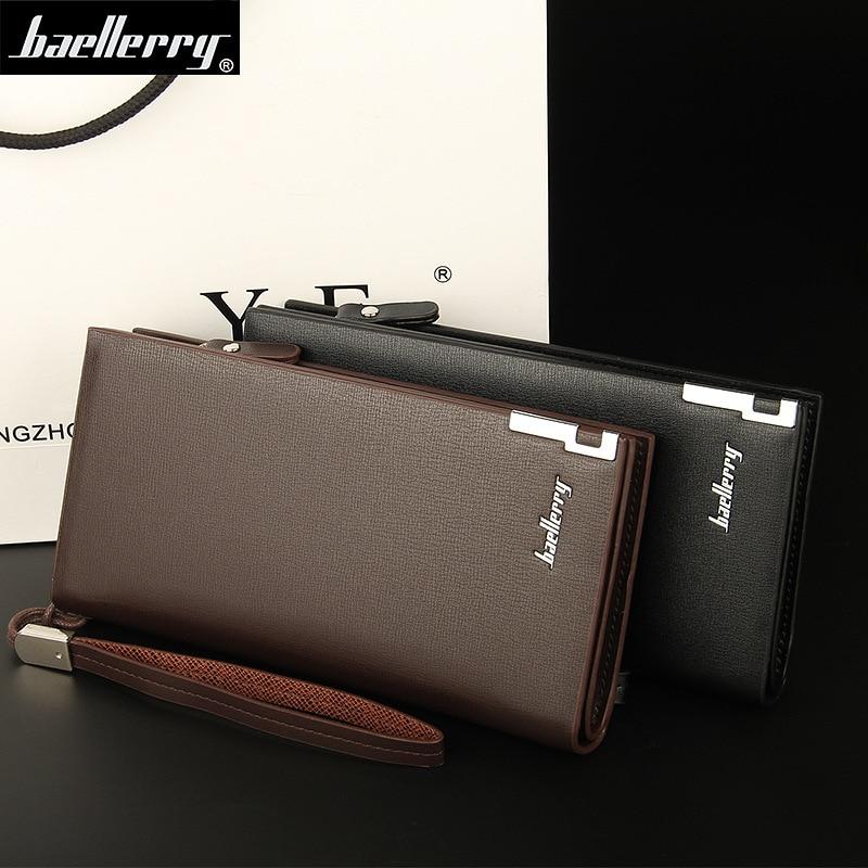 2018 Baellerry Business Men's Wallets Solid PU Leather Long Wallet Portable Cash Purses Casual Standard Wallets Male Clutch Bag