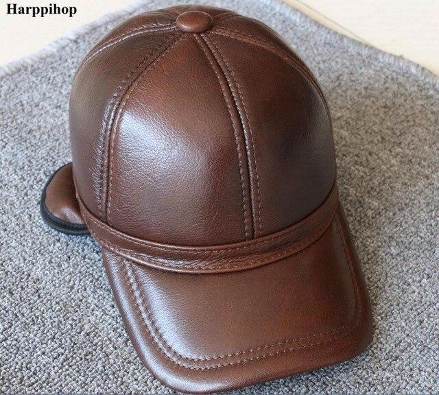 Hombres de cuero genuino gorra de béisbol sombrero de alta calidad de cuero  real de los fa6225b0c1b