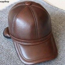Hombres de cuero genuino gorra de béisbol sombrero de alta calidad de cuero  real de los hombres sólidos adultos sombreros ajusta. 9b396a0a9ea