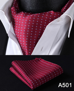 Image 2 - Polka Dot 100%Silk Ascot Pocket Square Cravat, Casual Jacquard Dress Scarves Ties Woven Party Ascot Handkerchief Set #A5