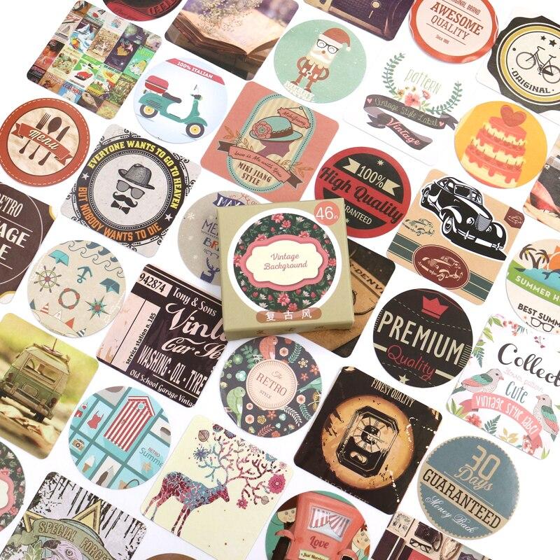 Cute Stickers Retro Tags Handbook Album Diary Mobile Phone Decoration Scrapbook Shaped Seal Stickers DIY Stationery 46 Pcs/box