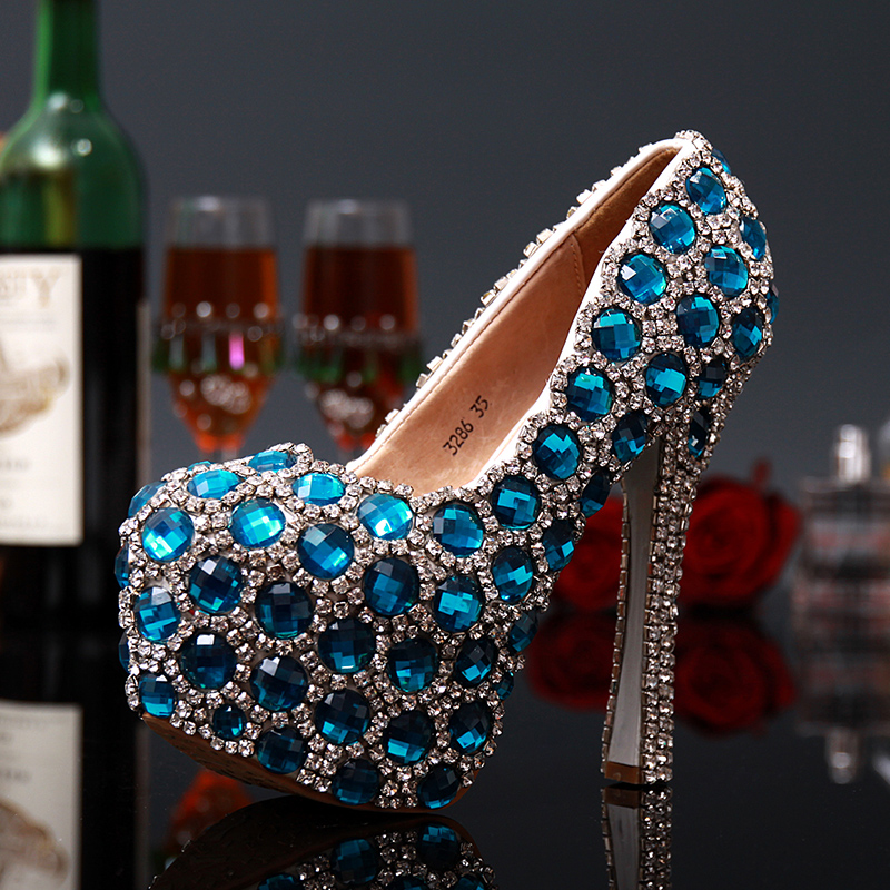 ФОТО Women high heels sexy pumps 2017 Fashion Style women Colorful Blue luxury Rhinestone Mixed Colors platform Wedding shoes