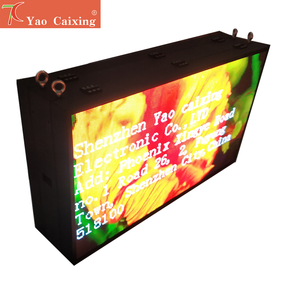Yao Caixing Double Side Front Maintenance P6 Outdoor IP67 Smd Waterproof Iron Cabinet Led Matrix Display Screen