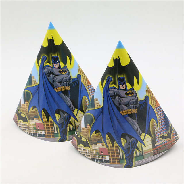 6pcs Lot Lego Batman Cartoon Party Supplies Paper Cap Birthday Baby Shower Decoration Kids Favor Hats Event Caps
