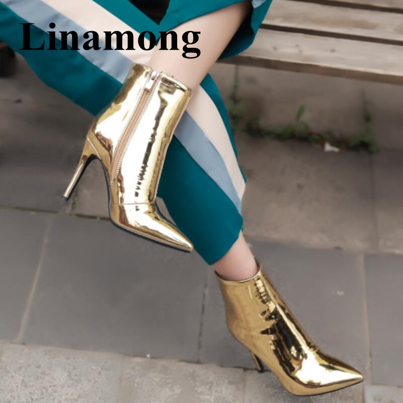 Fashion Gold And Silver Short Boots Sexy Pointed Toe High Heel Patent Leather Side Zipper Newest Women Ankle Boots Normal Size silver and gold short boots women sandals hollow out back zipper open toe high heel stilettos plus size fold ankle boots