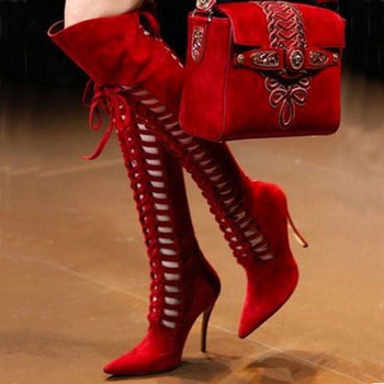 Women New Fashion Pointy Toe Over Knee Gladiator Boots Red Suede Front Cut-out Long High Heels Boots Runway Lace Up Shoes Women