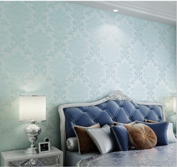 Fashion Blue Wallpapers Non Woven Papel De Parede Flocking Glitter Damask Wallpaper Living Room