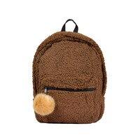 New Light Women Girl Student Backpacks Zipper School Bag With Faux Teddy Bear Hair Fur Plush