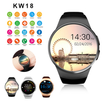 KW18 Smart Watch full screen Support SIM TF Card Smartwatch Phone Heart Rate Smartwatch For Android IOS For apple gear s2 huawei