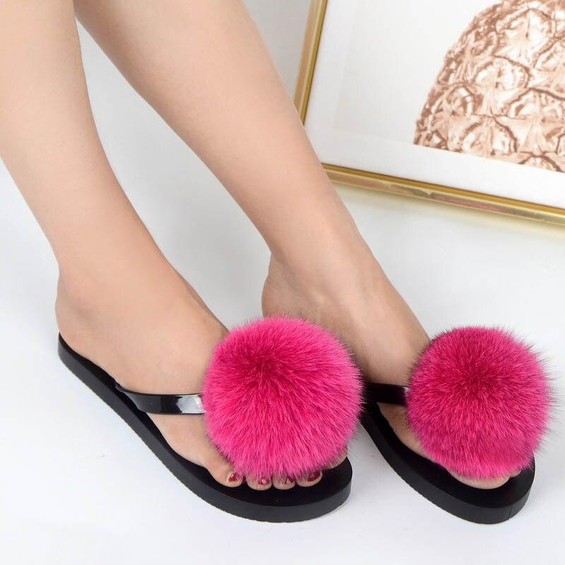 women slippers fox fur pompom (14)