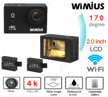 Wimius Action Camera 4K 30FPS wifi 2.0 inch Lens 1080P 60fps Full HD Waterproof 40M Wearable Outdoor Helmet Cam Deporte Camara