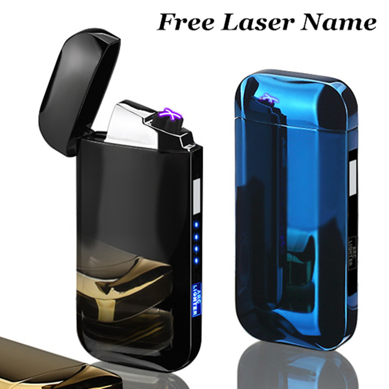 Dual Arc Cigar Palse Touch Sensing Windproof Plasma Thunder Lighter USB Lighter Rechargeable Electronic Lighter Power Display-in Cigarette Accessories from Home & Garden