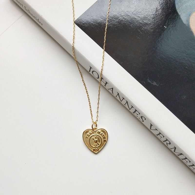 LouLeur 925 Sterling Silver Pattern Heart Neckalce Gold Color Fashion City Necklace For Women Gold Jewelry 925 For Charms Gift