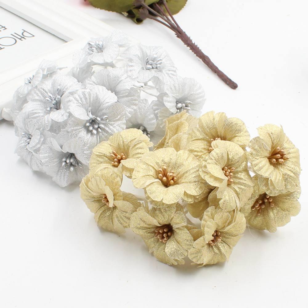 6 Pcs Gold Silver Morning Glory False Flower Silk Flower Bouquet