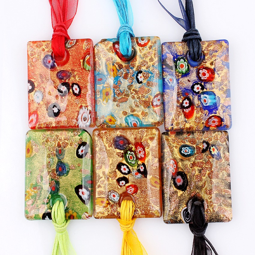 Wholesale Bulk 6pcs Gold Sand Murano Lampwork Glass Square Flower Pendant Silver P Beauty charm Necklaces For womens Gift