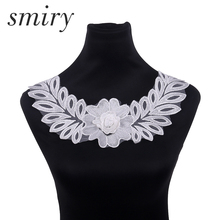 ФОТО smiry 1pc white net yarn lace fabric dress applique motif blouse sewing trims lace neckline collar costume decoration 062