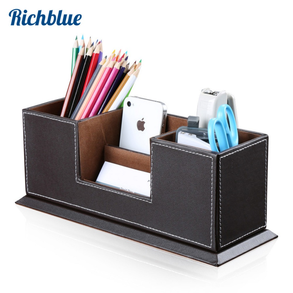 Stationary Boxes Us 20 99 30 Off Double Pen Pencil Holder Pen Storage Box Case Multi Function Stationery Desk Organizer Pencil Pot Pu Leather Office Supplies In