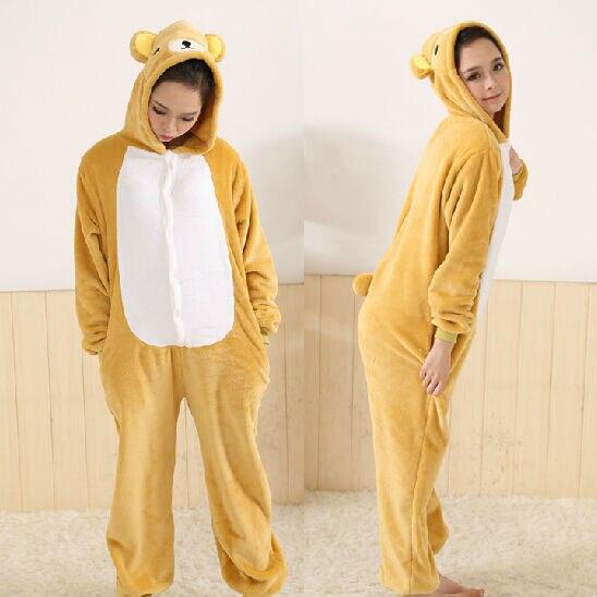 RILAKKUMA Plush Pajamas Bear Romper Japan Cosplay Costume pyjamas Sleepwear Free Shipping