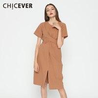 CHICEVER Summer Short Sleeve Hem Split O Neck Long Dress Women Tunic 2017 Casual Slim Female