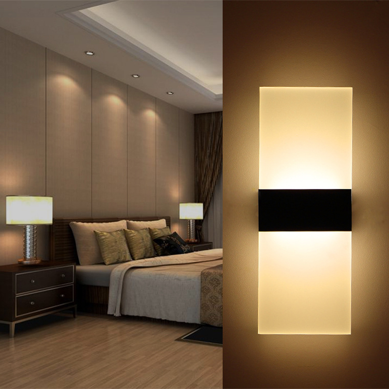 Modern Led Wall Lamp Bedroom Bedside Lamp Wall Sconces Modern Aisle Balcony Lamp Acrylic Stair Mirror Wall Light Lampara Pared(China)