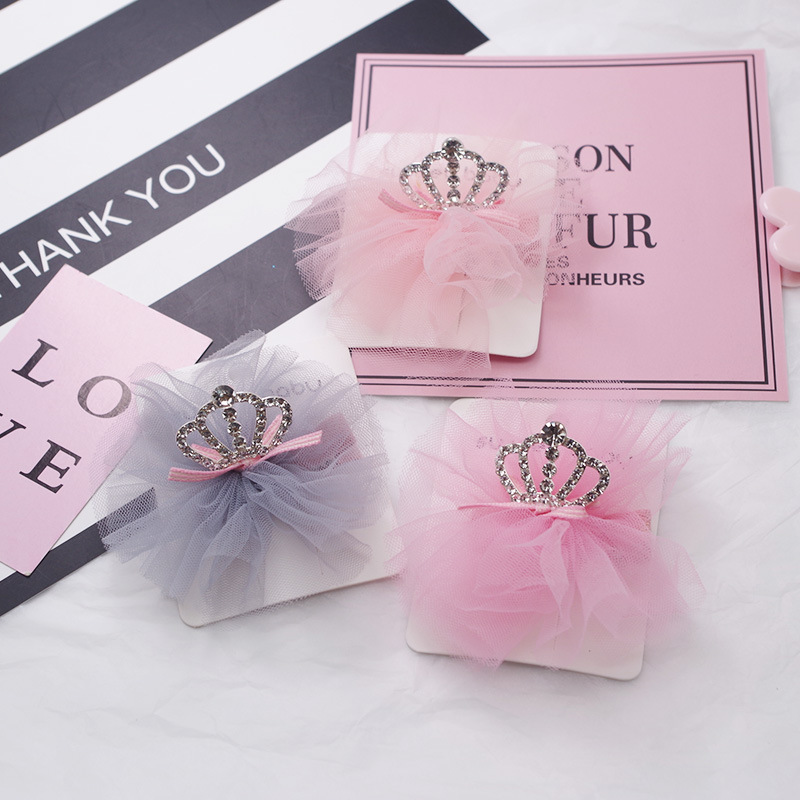 Girls Hair Clips Cute Crown Shape With Mesh Design Hair Pin Set Children Hairpin Princess Hair Accessoriess