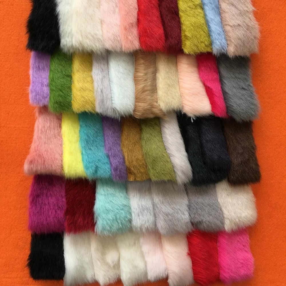 40cm * 160cm stałe tkaniny z potarganym sztucznym futrem kupie długie futro kostiumy rzemiosło DIY imitacja futra z norek dzianina sztuczna tkanina