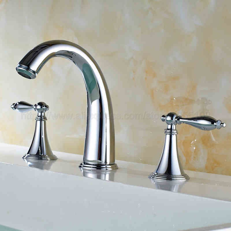 Polished Chrome 3 Hole Double Handle Brass Basin Sink Mixer Tap Widespread Bathroom Faucet znf433