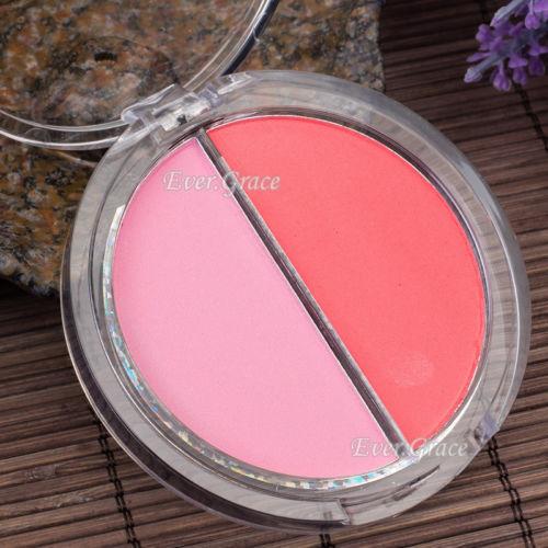 Makeup Blush Palette 2 Colors Blusher Soft Natural Glossy Women Cosmetics Orange