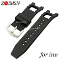 28mm Mens Black Watchbands Silicone Rubber Watch Band Strap Pin Buckle For INVwatch For Noma III Rubber Watchband Sport INV101