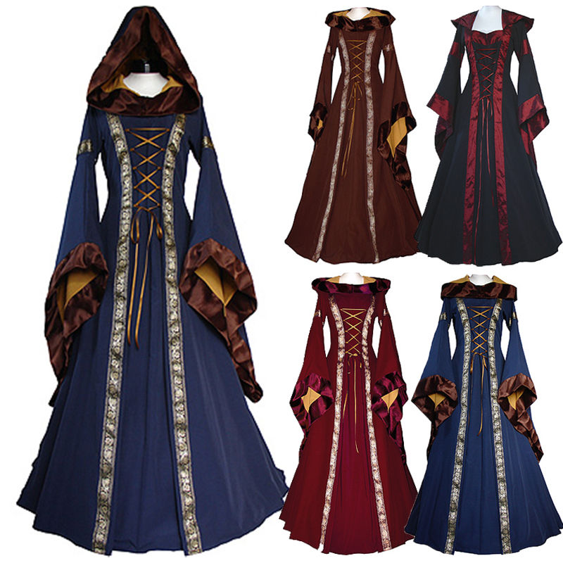 Renaissance Medieval Cotton Costume Pirate Boho Peasant Wench Victorian Dress Women Vintage Hooded Dress Gothic Dress