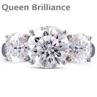 여왕 광채 5 ctw F 컬러 실험실 성장 모이 사 나이트 다이아몬드 약혼 반지 웨딩 밴드 솔리드 14 천개 585 화이트 골드 여성