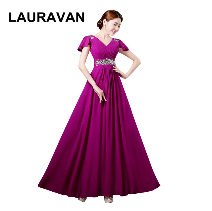 New Long Formal Fashion Sexy Purple Hot Pink Women A-line Beaded Sleeveless Prom Dress V Neck Gown Chiffon Red Gown Dresses