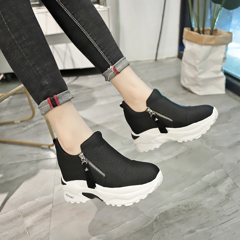Lucyever 2019 New Spring Ladeis Casual Sneakers Women Height Increasing Vulcanized Shoes Woman Footwear Leisure Ankle Boots 13