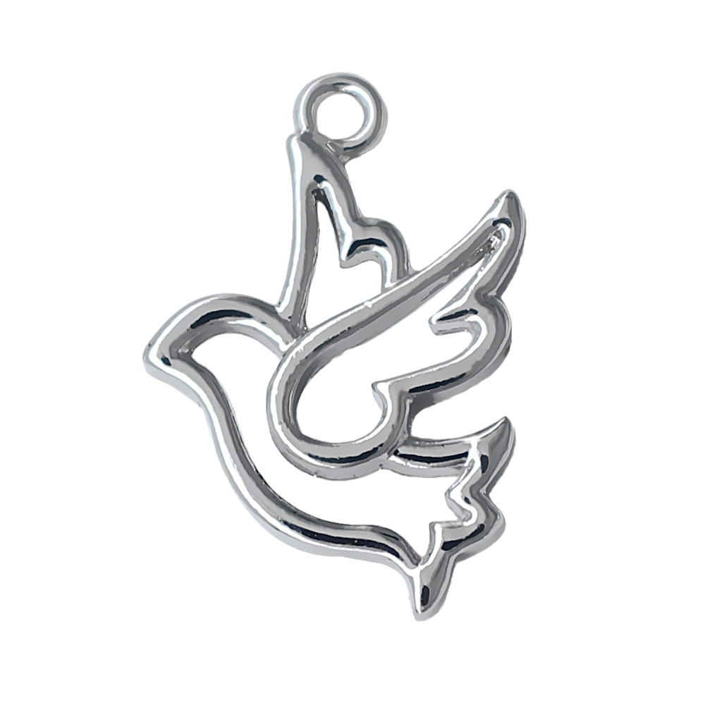 Personalized Hollow Silver Metal Dove Pendant Society Logo Peace