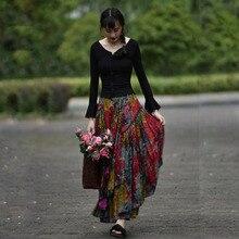 送料無料 2020 新長期マキシ a ライン弾性ウエスト女性秋夏の綿とリネンスカートプラスサイズ S 2XL 印刷スカート