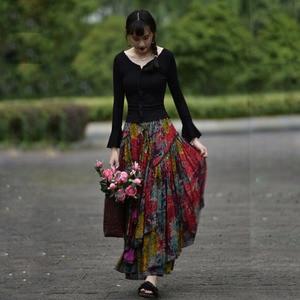 Image 1 - 送料無料 2020 新長期マキシ a ライン弾性ウエスト女性秋夏の綿とリネンスカートプラスサイズ S 2XL 印刷スカート
