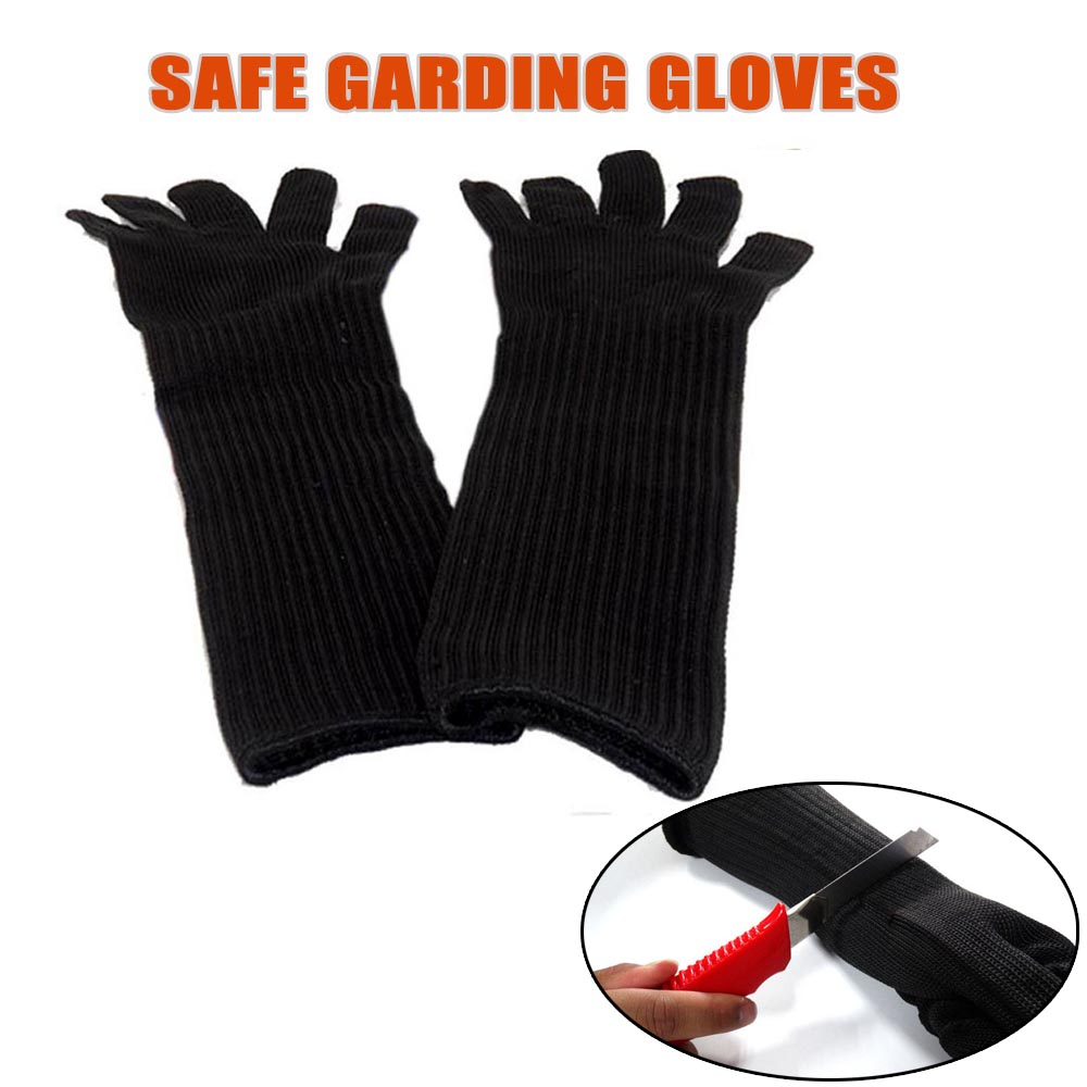 Black gardening gloves - 1 Pair Long Garden Gloves With Stainless Steel Wire Anti Cutting Breathable Working Gloves Safety